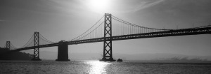 Black and white photo of the Bay Bridge - Design Accounting Solutions